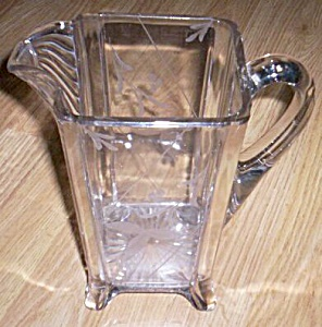 U.s. Glass Pitcher Post Aka Square Panes