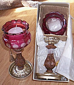 Pair Bohemian Cut Glass Candle Holders (Image1)