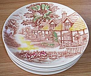 6 WWQ English Cottage Dinner Plates (Image1)