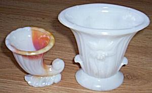 2 Akro Agate Vases Cornucopia Daffadil (Image1)