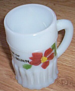 Antique Mini Glass Mug Souvenir Wheaton Minnesota (Image1)