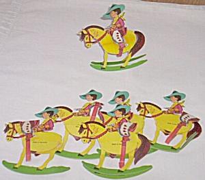 6 Vintage Cowboy Crepe Paper Part Favors Free Shipping (Image1)