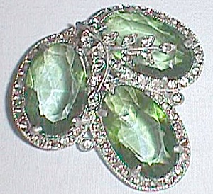 Dress Clip 3 Green Stones Many Smaller White Marked AJ Free Shipping (Image1)