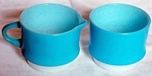 Fire King Fired On Blue Cream Sugar Set (Image1)