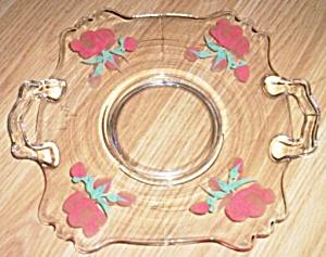 Elegant Serving Plate Fostoria Hand Painted Roses (Image1)