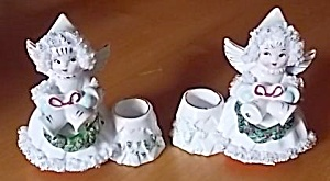 Pair 1950 Commodore Angel Candle Holders