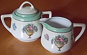 Antique German Porcelain Cream & Sugar Set (Image1)