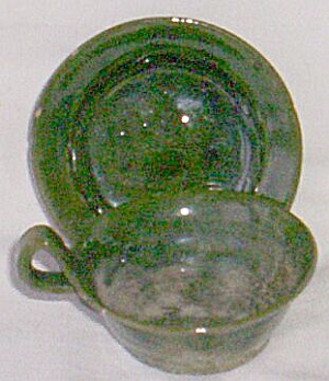 Hand Made Vintage Pottery Tiny Cup & Saucer (Image1)