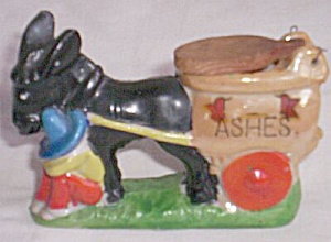 Vintage Donkey Pulling Cart Ashtray