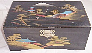 Vintage Lacquer Jewelry Box Mountain Scene
