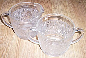 Large Sandwich Glass Cream & Sugar Hocking Glass (Image1)