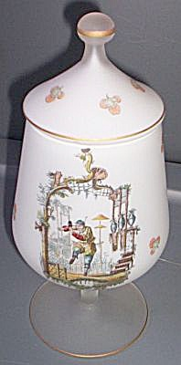 Italian Glass Tall Covered Jar Norleans (Image1)