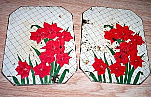 Vintage Red Amaryllis Metal Hot Pads (Image1)