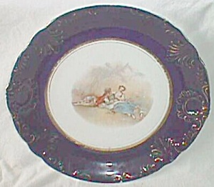 Antique Potter's Co. Plate Cobalt Rim Perfect (Image1)