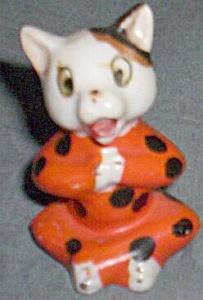 Antique Porcelain Meditating Kitty Orange Black Spots (Image1)