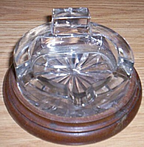Vintage Glass Ashtray On Wood Base