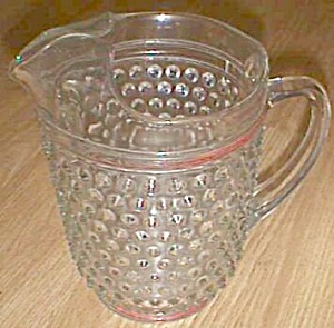 Crystal Hobnail Pitcher Red Stripes Ice Lip (Image1)