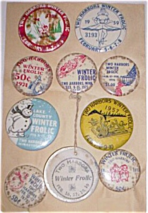 Two Harbors MN Winter Frolic Buttons 1950-1976 Free Shi (Image1)