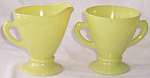 Hazel Atlas Ovide Cream & Sugar Chartreuse (Image1)