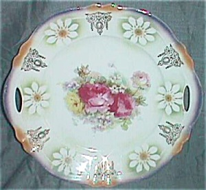 Antique German Porcelain Serving Plate Peonies