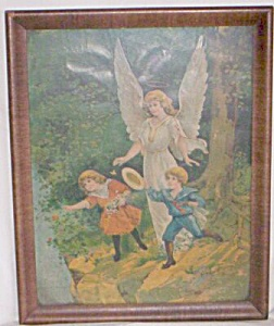 "Beautiful ""Guardian Angel"" Litho Original Frame (Image1)"