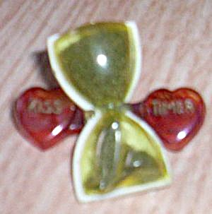 Vintage Kiss Timer Celluloid Brooch