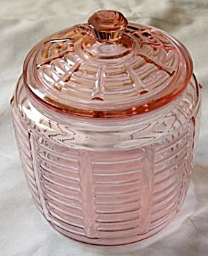 Pink Depression Paneled and Rib Cookie Jar (Image1)