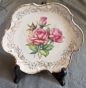 Vintage Rose Covered Porcelain Plate (Image1)