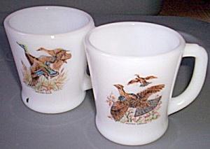 Pair Fire King Game Bird Mugs Grouse Duck (Image1)