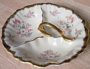 Heavy Porcelain Pink Tulip 3 Part Relish (Image1)