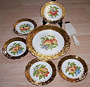 7 Pc Dessert Set Heavy Gold Rim (Image1)