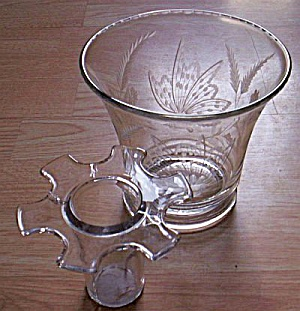 Wide Mouth Etched Butterfly Vase & Frog (Image1)