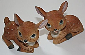 Pair Homco Fawn Deer Figurines (Image1)