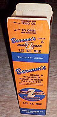 Vintage Barnum Gurn-Z-Gold Paper Milk Carton (Image1)