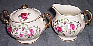 Royal Sealy Cream Sugar Set Roses Free Shipping (Image1)