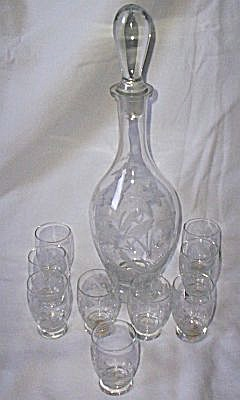 Antique Romanian Decanter Set