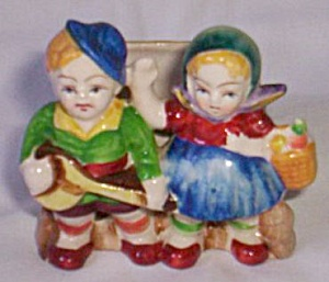 Occupied Japan Figural Cactus Pot Jack & Jill