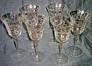 6 Tall Cut Water Goblets