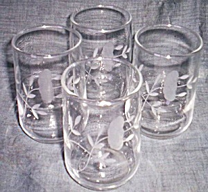 4 Floral Cut Juice Glasses