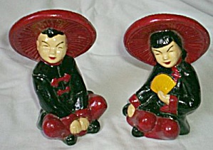 Seated Oriental Chalkware Couple