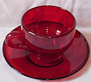 Arcoroc Ruby Cup & Saucer