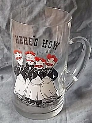 Rare Wet Virginia Glass Huge Beer Mug Barbershop Quartet (Image1)