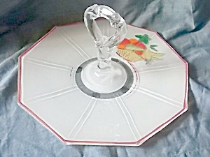 Deco Glass Serving Tray Painted Fruit