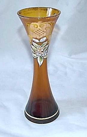Art Glass Enameled Vase Amber W/ Bright Floral