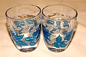 Pair of French shot Glass Blue Leaf (Image1)