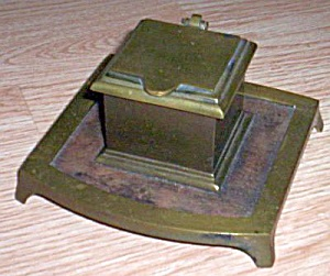 Complete Antique Brass Inkwell (Image1)