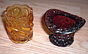 Pair Amber Glass Toothpick Holders (Image1)