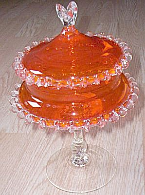 Empoli Orange Pedestal Candy Italian Glass (Image1)