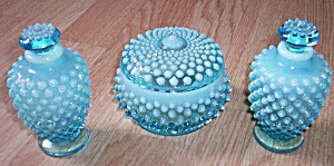Fenton Blue Opalescent Vanity Set 3 Pc