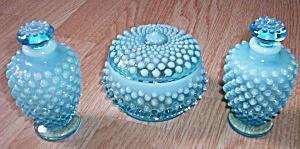 Fenton Blue Opalescent Vanity Set 3 pc (Image1)